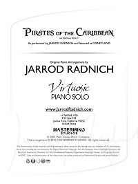 "Jarrod Radnich's medley from Pirates of the Caribbean Sheet Music - as performed by Jarrod at Disneyland's ""Home of the Future"" in Tomorrowland."