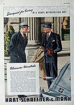 Men's Fashions, 30's Vintage Print Ad. Color Illustration (Hart Schaffner & Marx) Original Rare 1938 Esquire Magazine Art