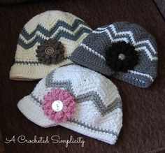 "Crochet Pattern: ""Chasing Chevrons"" Newsboy by A Crocheted Simplicity"