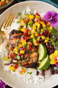 Jerk Chicken with Mango Avocado Salsa and Coconut Rice