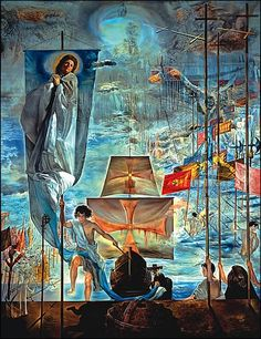 The Discovery of America by Christopher Columbus - by Salvador Dali x 284 cm; x in) A giant masterpiece displayed at the Dali Museum, St Petersburg, Florida I saw many time since Salvador Dali Museum, Salvador Dali Paintings, Christoffel Columbus, Jean Arp, Max Ernst, Photo D Art, Surreal Art, Oeuvre D'art, Les Oeuvres