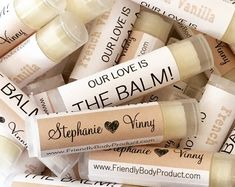 amazing Wedding Favours for your wedding reception! favors for guests Wholesale Lip Balms - Beeswax Lip Balms - Custom Lip Balms Natural Lip Balm- Lip Balm Gift Wedding Bridal Label Chapstick Shower Gift Creative Wedding Favors, Inexpensive Wedding Favors, Wedding Gifts For Guests, Beach Wedding Favors, Bridal Shower Favors, Gift Wedding, Wedding Thank You Gifts, Fall Wedding, Weeding Favors