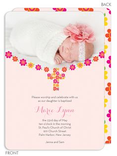 Pink Flowered Cross Baptism Photo Invitations