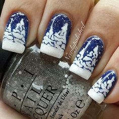 Lovely white trees against blue background Instagram photo by newlypolished #nail #nails #nailart