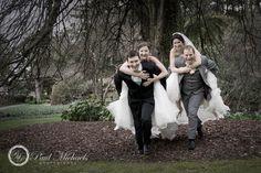Wedding couples having fun at the botanical gardens.  #Wedding #photographers, #Wellington, New Zealand. http://www.paulmichaels.co.nz/