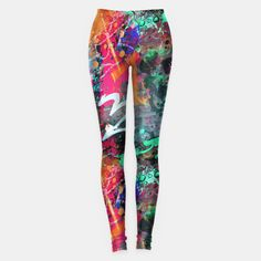 Graffiti and Paint Splatter   Colorful Womens Leggings by  Gravityx9  - Colorful fashion for women! Click through to see this pattern on more products!