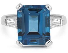 5 Carat Emerald-Cut London Blue Topaz and Diamond Ring. Another unique, timeless cheap wedding ring. This one is Inspired by the more trendy emerald cut gem-style for weddings but is WAY more unique and edgy. Blue Topaz Ring, Topaz Gemstone, Gemstone Earrings, Topaz Jewelry, Diamond Jewelry, Diamond Rings, Jewelry Rings, Jewelry Box, Jewelry Making