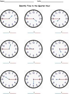 Here is a color-coded worksheet to help students learn how to tell time to the quarter hour. (It comes from a bundle of sheets that focus on telling time to the hour, half-hour, quarter-hour, and five-minute mark! Time Worksheets Grade 2, Clock Worksheets, Kindergarten Worksheets, Math Activities, Coloring Worksheets, Teaching Time, Teaching Math, Maths, Math Measurement