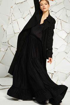 Black Stretch Linen Kezia Trench Coat, Black Fine Crepe Washed Satin Otto Shirt, Black Fine Crepe Washed Satin Elsa Skirt and  White Alter Nappa Ballerina