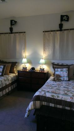 Boys Pirate bedroom - would be a neat idea for curtains - line them, though....