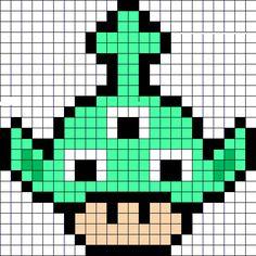 Alien mushroom perler bead pattern Easy Perler Bead Patterns, Perler Bead Templates, Diy Perler Beads, Kandi Patterns, Perler Bead Art, Beading Patterns, Pixel Art Toad, Kawaii Cross Stitch, Pixel Drawing