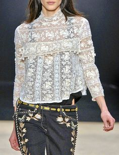 isabel-marant (would like top longer-sewing lace strips together to make the fabric)