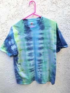 b08996219de9 D13 - Adult Large - L - tie-dye t-shirt - navy blue lime green yellow  striped trippy hippie psychedelic festival rave bohemian retro dope
