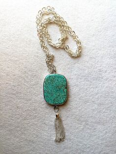 "Tassel Necklace Turquoise Tassel Necklace Turquoise Pendant 30"" Chain Necklace #JKOriginals #Tassel"