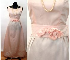 e28b167b1de 1960s gown pink taffeta dress with train bridesmaid dress Size 1960 Dress