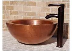Copper sink on stone bench top Glass Vessel Sinks, Copper Vessel, Hammered Copper, Copper Kitchen, Copper Bathroom, Small Bathroom, Plumbing Problems, Bowl Sink, Blue And Copper