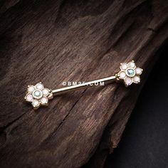 A Pair of Opalescent Sparkle Floral Nipple Barbell-White/Aqua/Aurora Borealis Nipple Rings, Belly Rings, Vintage Roses, Aurora Borealis, Barbell, Body Jewelry, Ear Piercings, Aqua, Hair Accessories
