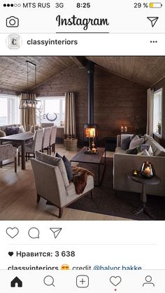 Loving the wood stove warming the dining and living spaces. Seems more conducive to affordable living. Interior Stairs, Interior Exterior, Cabin Interiors, Log Cabin Homes, Cozy House, Home Furniture, Sweet Home, Interior Decorating, House Design