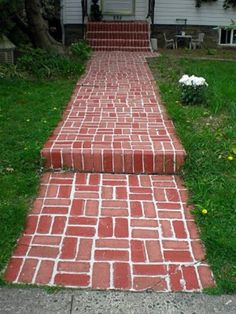 Paint Concrete Steps To Look Like Brick - 150 Remarkable Projects and Ideas to Improve Your Home's Curb Appeal Outdoor Walkway, Brick Walkway, Brick Porch, Walkway Ideas, Front Porch, Brick Steps, Gravel Patio, Brick Wall, Brick Projects