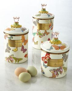 Butterfly Garden Canisters by MacKenzie-Childs at Neiman Marcus.