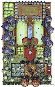 rectangular lawns with cutaway internal corners provide a soft surfaced open room between planting and a tennis court.Double rectangular lawns with cutaway internal corners provide a soft surfaced open room between planting and a tennis court. Architecture Concept Drawings, Landscape Architecture Drawing, Landscape Design Plans, Garden Design Plans, Architecture Graphics, Landscape Drawings, Backyard Plan, Plan Drawing, Santa Lucia