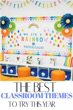 The best classroom themes for your elementary class this year including colorful rainbow, cactus and camping theme. Tons of inspiration to make the theme come to life!  These are perfect for preschool, kindergarten as well as the older students.  #classroomthemes Classroom Images, Classroom Jobs, Future Classroom, Classroom Organization, Classroom Decor, Rainbow Bulletin Boards, Classroom Bulletin Boards, Rainbow Wall Decal