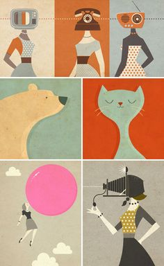 Zara Picken illustrations. Simple and great colors!