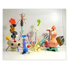 Vintag ZoLO Painted Wood Toy Set // 50 Pieces by by AnytimeVintage, $224.00