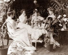 My research indicates that Tea Parties do not stop with the end of childhood. As indicated in this picture, young ladies, and even older la...