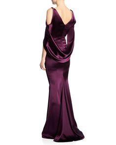 71e47d22dfe Talbot Runhof Ponceau High-Neck Draped Bodice Shiny   Matte Crepe Satin  Evening Gown