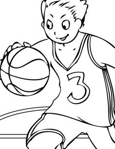 happy face when carrying the ball coloring pages for kids printable basketball coloring pages for kids - Basketball Coloring Pages Print