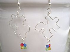 Autism Awareness Wire Puzzle Dangle Earrings by June8Jewelry, $10.00