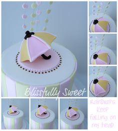 Umbrella Themed Baby Shower Cake, Cookies & Cake Pops
