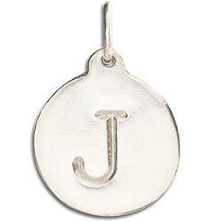 "14K White Gold ""J"" Alphabet Charm"