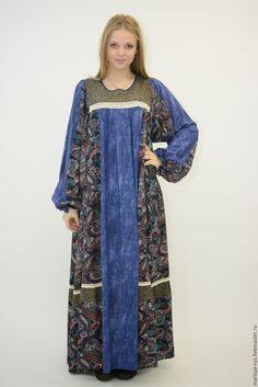 """Купить Платье """"Зауральское"""" - комбинированный, платье, Платье нарядное, платье летнее, платье в пол"""