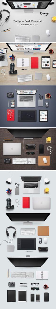 Headers And Hero Images PSD Mockups For Designers - Designer Desk Workspace Mockup Free PSD