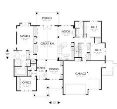 Craftsman Style House Plan - 3 Beds 2.50 Baths 2735 Sq/Ft Plan #48-542 Floor Plan - Main Floor Plan