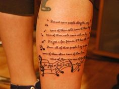 On this post you can see Cute Wording And Music Note Tattoos On Leg - Tattoos Ideas in an interesting style. Look at the photos and sketches of the Cute Wording And Music Note Tattoos On Leg. Tribal Tattoos, Wörter Tattoos, Tattoos Mandala, Bunny Tattoos, Lyric Tattoos, Tattoo Script, Sleeve Tattoos, Tattoo Quotes, Tattoo Music