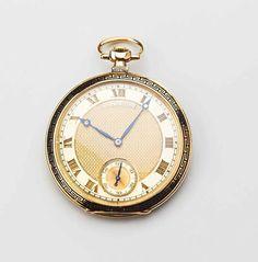 Feine goldene Patek-Philippe-Taschenuhr. 18 ct. Glattes rundes Gehäuse. Lunetten- und Rückdeckelr