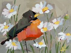 Robin in the Daisies original bird and floral oil painting by Angela Moulton