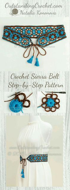 Sierra Belt Step-by-Step Crochet Pattern at www. - Sierra Belt Step-by-Step Crochet Pattern at www.OutstandingCr… Imágenes efectivas que le proporci - Crochet Belt, Crochet Diy, Crochet Motifs, Love Crochet, Crochet Crafts, Crochet Flowers, Crochet Stitches, Crochet Projects, Diy Crafts