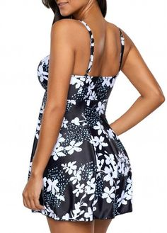 Flower Print Black Spaghetti Strap Swimdress and Panty Black Spaghetti, Spaghetti Straps, Haute Couture Style, Swim Dress, Summer Wear, Women Lingerie, Beachwear, High Fashion, Cool Outfits