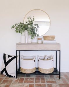 Our console table is in stock and 15% off today using code FREEDOM (linked in bio). Did a little summer styling around the house this…