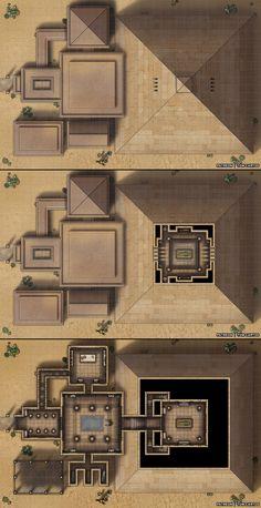 Tomb of Emun-Rah - A Three Level Pyramid and Entrance Halls! Conquistador, Dark Sun, Desert Map, Dnd World Map, D20 Modern, Pen & Paper, Building Map, Rpg Map, Dnd 5e Homebrew