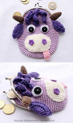 Geldbeutel,  lila Crochet Wallet, Crochet Coin Purse, Crochet Gifts, Crochet Bags, Bead Crochet, Cute Crochet, Crochet Dolls, Bag Patterns To Sew, Crochet Patterns