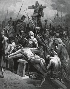 Crucifixion of Jesus on a two-beamed cross, from the Sainte Bible (1866), by Gustave Doré