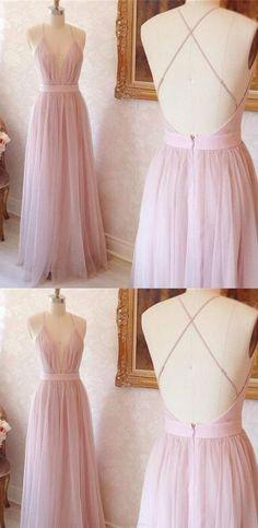 Pink Prom Dresses, Long Prom Dresses, A-line V-neck Long Pink with Criss Cross Back Prom Dress Evening Dress , G038