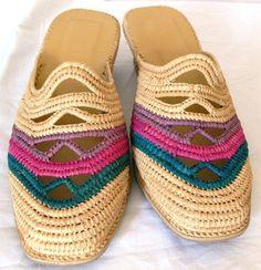 Handmade Babouche Moroccan Raffia Shoes Low Wedge Heel Sandals New Sz 8 #Handmade #PlatformsWedges #Casual