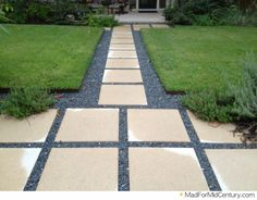 Mad for Mid-Century: modern landscaping with gray stones and cement slabs. - clean lines this creates. Wood Walkway, Flagstone Walkway, Walkways, Mid Century Landscaping, Modern Landscaping, Florida Landscaping, Yard Landscaping, Mid Century Ranch, Mid Century House