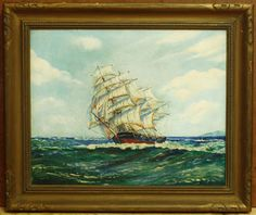 Antique Oil On Canvas Painting - Schooner Ship At Sea - Signed By J. Wood